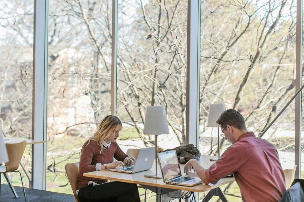 Students studying in Storms Research Center