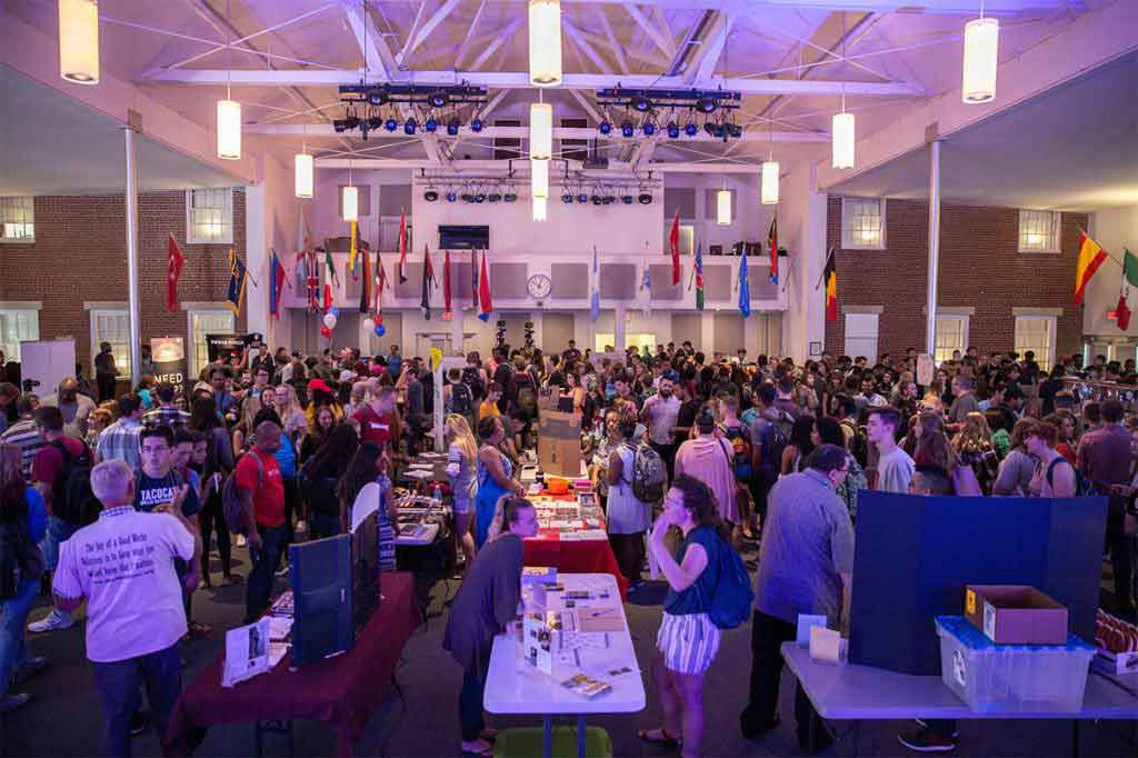 Chapel filled with students during our annual ministry fair