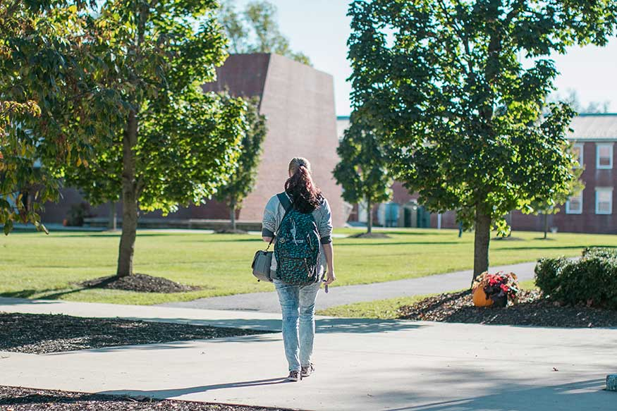 UVF Student walks through campus