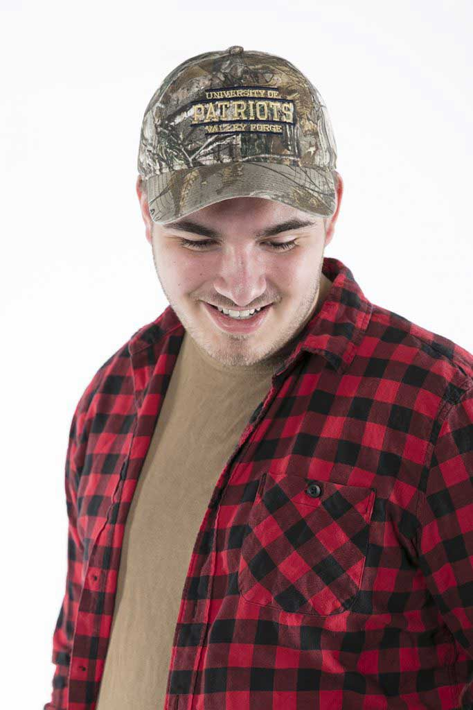 Student in Camo Hat from Patriot Store