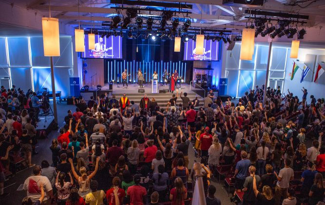 Wide shot of Flower Chapel during worship