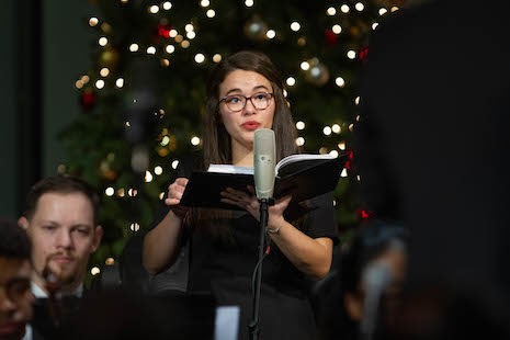 A student singing a solo during Christmas at Valley Forge